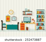 Stock vector single young man or teenager room interior with furniture flat style vector illustration 252473887