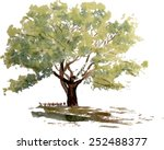 a stylized tree hand painted...
