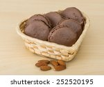 chocolate macaroons in the bowl ... | Shutterstock . vector #252520195