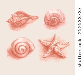 hand drawn set of various sea...   Shutterstock .eps vector #252533737