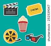vector set of cinema icons.   Shutterstock .eps vector #252539047