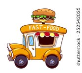 cartoon fast food car with a...   Shutterstock .eps vector #252542035