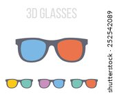 vector 3d glasses icons.