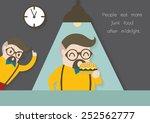 man eating hamburger at night... | Shutterstock .eps vector #252562777