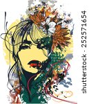 abstract print with female face ... | Shutterstock .eps vector #252571654