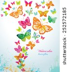 Stock vector watercolor butterflies and splash vector background 252572185