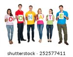 group of people holding letter... | Shutterstock . vector #252577411