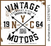 vintage motors tee graphic | Shutterstock .eps vector #252578371