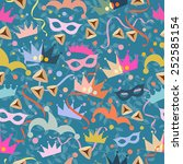seamless holiday purim pattern | Shutterstock .eps vector #252585154