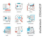 thin line icons of business... | Shutterstock .eps vector #252616219