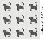 black cat pattern. vintage... | Shutterstock .eps vector #252618577
