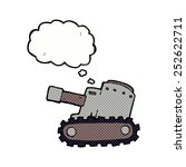 cartoon army tank with thought... | Shutterstock . vector #252622711