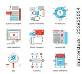 thin line icons of digital... | Shutterstock .eps vector #252625054