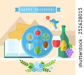 passover seder plate with flat... | Shutterstock .eps vector #252628015