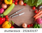 vegetable set with knifes  ripe ... | Shutterstock . vector #252633157