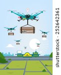 a group of flying rc drones to... | Shutterstock .eps vector #252642361