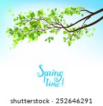 branch with green leaves under...   Shutterstock .eps vector #252646291