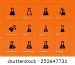 pharmacy flask icons on orange...