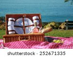 a picnic at the beach with wine ... | Shutterstock . vector #252671335
