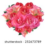heart made of roses isolated on ... | Shutterstock . vector #252673789