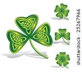 green shamrocks with celtic... | Shutterstock .eps vector #25267966