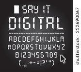 digital font. letters  numbers... | Shutterstock .eps vector #252690067