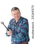 Small photo of Angry DIYer holding hammer, isolated on a white background.