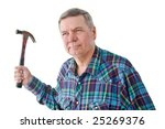 Small photo of Portrait of mature DIYer with hammer, isolated on a white background.