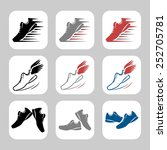 vector icon set of sport shoes   Shutterstock .eps vector #252705781