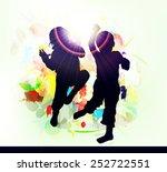 happy children dancing together | Shutterstock .eps vector #252722551