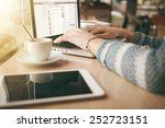 woman using a laptop during a... | Shutterstock . vector #252723151
