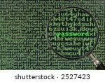Small photo of Screen full of alphanumerics depicting encryption and the word password emphasized by a magnifying glass