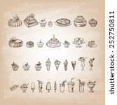 vintage collection of desserts. ... | Shutterstock .eps vector #252750811