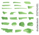 Green hand drawn watercolor marker strokes and stains on white background. Vector set sketched design elements for banner, scrapbook, craft, card, poster. Brush texture painted abstract illustration.