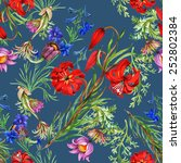 seamless floral pattern on blue ... | Shutterstock .eps vector #252802384