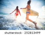two young ladies surfers... | Shutterstock . vector #252813499