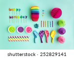 overhead view of birthday party ... | Shutterstock . vector #252829141