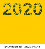 2020 in daffodils on yellow... | Shutterstock . vector #252849145