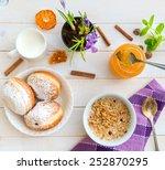 breakfast of cereal  milk and... | Shutterstock . vector #252870295