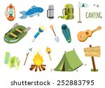 Camping Vector Set With Bonfir...