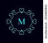calligraphy monogram floral... | Shutterstock .eps vector #252885841