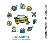 car service concept with auto... | Shutterstock .eps vector #252887059