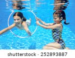 Kids Swim In Pool Underwater ...