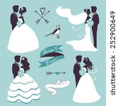 set of elegant wedding couples... | Shutterstock .eps vector #252900649