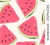 slices of watermelon seamless... | Shutterstock .eps vector #252912181