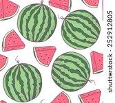 juicy watermelon with slice... | Shutterstock .eps vector #252912805