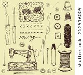 hand drawn sewing set | Shutterstock .eps vector #252916009