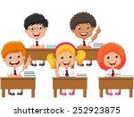 school children in classroom at ... | Shutterstock .eps vector #252923875