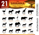 Stock vector twenty one savanna animal silhouettes 252931081
