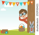 easter egg hunt background with ... | Shutterstock .eps vector #252933421